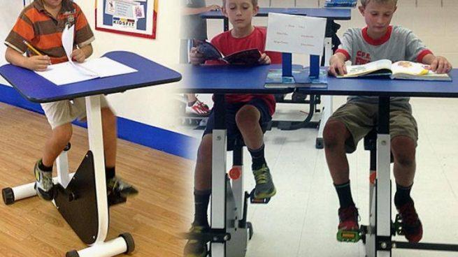 Pupitres-bicicleta para niños hiperactivos